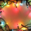 Stock Photo: Christmas lights frame