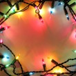 Christmas lights frame - Stok fotoraf