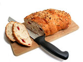 Bread knife board — Stock Photo