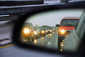 Traffic jam mirror — Stock Photo