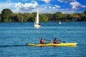Kayaking on a lake — Stock Photo