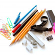 Stock Photo: School office supplies on white