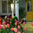 House porch with flowers — Stock Photo