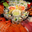 Sushi party tray, closeup — Stock Photo