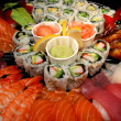 Sushi party tray, closeup - Stock Photo