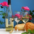 Stock Photo: White wine with glasses