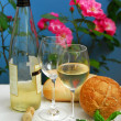 White wine with glasses — Stock Photo