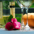 Stock Photo: White wine with glasses closeup