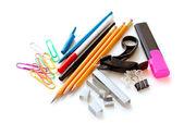 School office supplies on white — Stock Photo