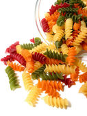 Tricolor pasta on white — Stock Photo