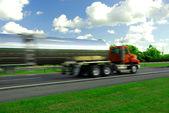 Speeding truck gasoline — Stock Photo
