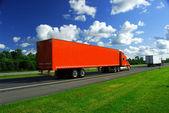 Truck speed highway — Stock Photo