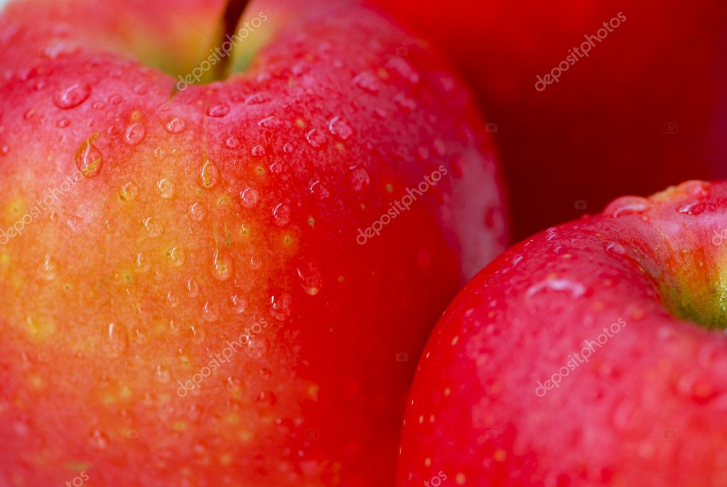 Macro of red apples with water droplets  — Foto Stock #7085151