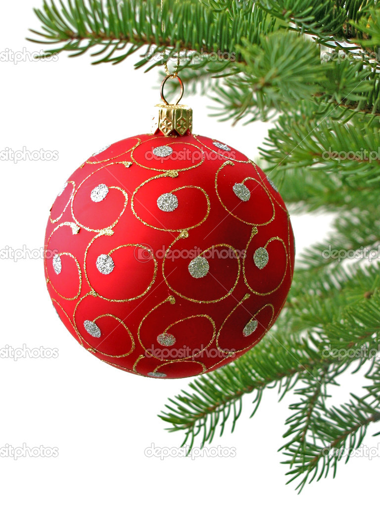 Red Christmas ball on Christamas tree branch isolated on white background — Stock Photo #7085153