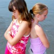 Two girls pouting — Stock Photo