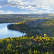 Fall forest and lake top view — Stock Photo