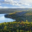 Fall forest and lake top view - 