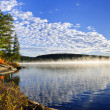 Autumn lake shore with fog - Stock Photo