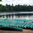 Stock Photo: Canoes on lake shore