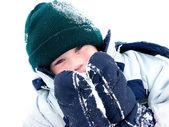 Winter boy fun — Stock Photo