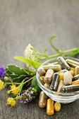 Herbal medicine and herbs — Stock Photo
