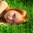 Girl grass — Stock Photo