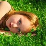 Girl grass — Stock Photo