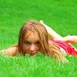 Young girl grass — Stock Photo