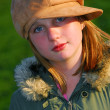 Girl portrait hat - Stock Photo