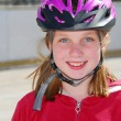 Girl child helmet — Stock Photo