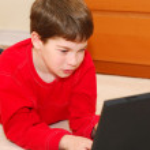 Boy computer — Stock Photo