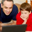 Stockfoto: Father son computer