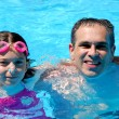 Father daughter pool — Stock Photo