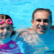 Father daughter pool — Stock Photo #7639180