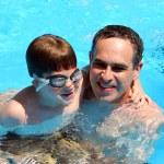 Father son pool — Stock Photo