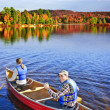 Stock Photo: Canoing in fall