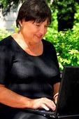Kadın bilgisayar — Stok fotoğraf