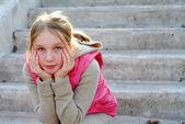 Girl child thinking — Stock Photo