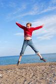 Girl child jumping — Stock Photo