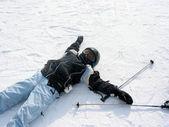 女の子スキー冬 — ストック写真