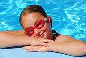 Girl portrait pool — Stock Photo