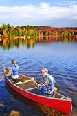 Canoing in fall — Stock Photo