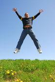 Man jumping happy — Stock Photo