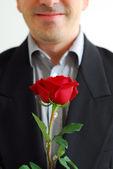 Man red rose — Stock Photo