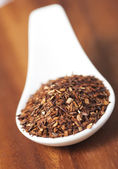 Spoon with loose Rooibos red tea, isolated, shallow focus — Stock Photo