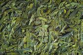 Long leaves green loose tea, texture — Stock Photo