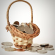 Coins in the bascket — Stock Photo