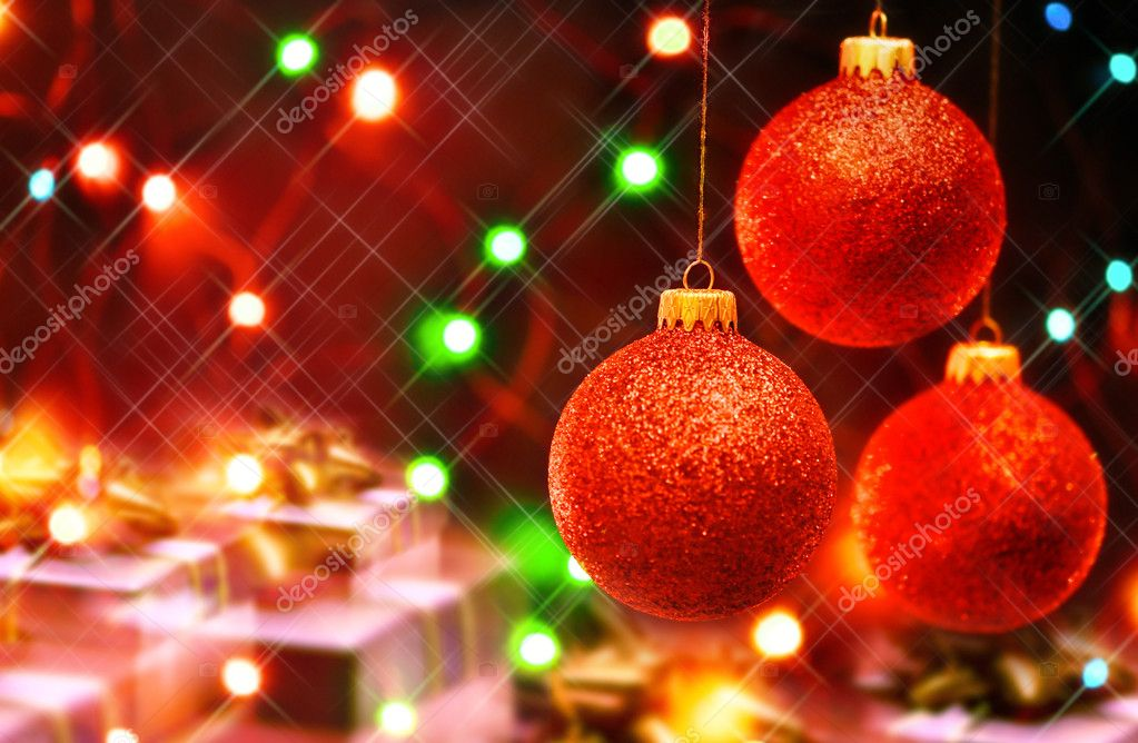 Background for christmas with gifts and hanging balls  Stock Photo #7618114
