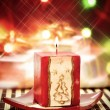 Christmass candle close up — Stock Photo