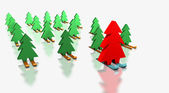 Christmas trees skiing with the leader — Stock Photo